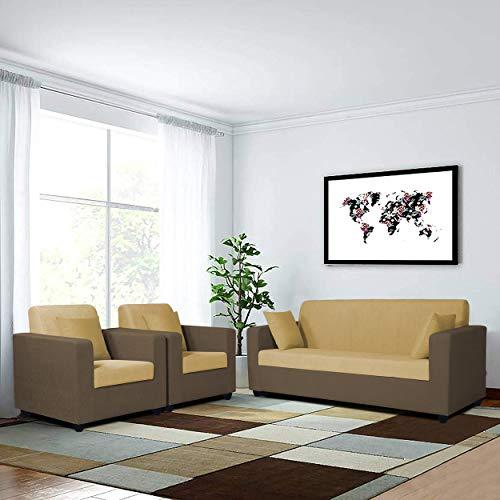Adorn India Rio Decent Wooden 3 1 1 5 Seater Sofa Set  Brown  amp; Beige