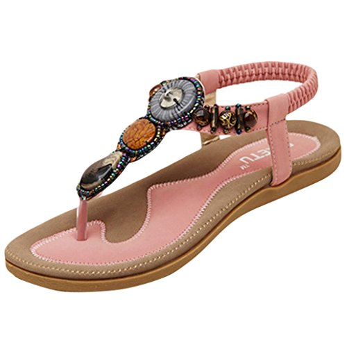 YOUJIA Women's Gorgeous Beaded Clip Toe Adjustable strap Sandals 2-9.5 Pink TL3lAAxC4L