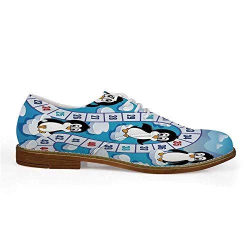 Board Game Stylish Leather Shoes,Cute Funny Penguins Antarctica Aquatic Environment Iceberg Ocean Happy Animals for Men,US 12