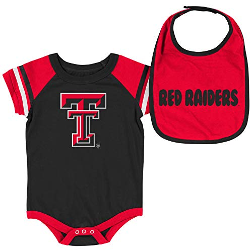 Colosseum NCAA Baby Short Sleeve Bodysuit and Bib 2-Pack-Newborn and Infant Sizes-Texas Tech Red Raiders-3-6 Months