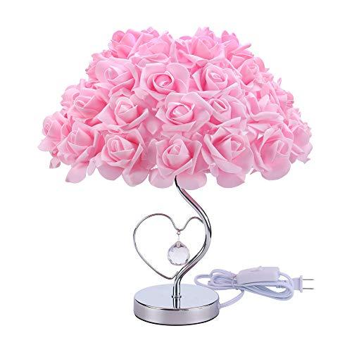 SMALLE ◕‿◕ Rose Lamp Flower Desk Lamp, Enchanted Rose Table Desk Lamp Flower Shade Light for Living Room Bedroom Lamps