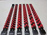RED 6pc MOUNTABLE ABS SOCKET RAILS 1/4'' 3/8'' 1/2'' RACK TRAY HOLDER ORGANIZERS