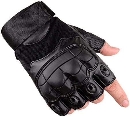 Avril Tian Guantes tácticos, medio dedo militar, de goma, guantes de nudillo duro para exterior, ejercicio, escalada, carreras, senderismo, camping, ...
