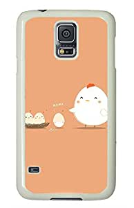 Hard Case Shell for Samsung Galaxy S5 Covered with Hen and Eggs,Customized White Plastic Cover Skin for Samsung Galaxy S5 I9600,Funny iPhone 4 4S Case