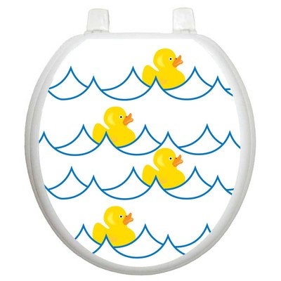 Toilet Tattoos Rubber Ducky White Decorative Applique for Toilet Lid