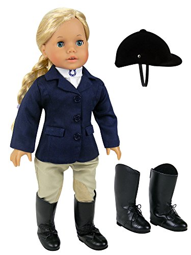 18 inch doll Horse Riding Outfit, 5 Piece Complete Navy Equestrian Set fits 18 Inch American Girl Dolls & More! Includes Boots and Helmet