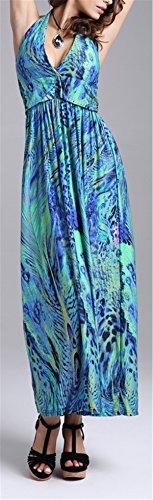 Allonly Femmes Élégant Cou Licol V Wrap Plissé Multicolore Dos Nu Balançoire Bohême Maxi Robe À Fleurs Imprimé Vert