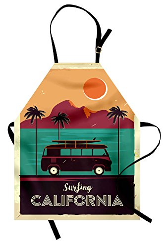 Lunarable Retro Apron, Vintage Van with a Surfboard Driving in Tropical Landscape Colorful Sunset Scene, Unisex Kitchen Bib Apron with Adjustable Neck for Cooking Baking Gardening, - Tropical Surfboard