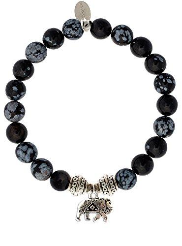 Handcrafted Snowflake Obsidian - EvaDane Natural Snowflake Obsidian Gemstone Tibetan Bead Elephant Charm Stretch Bracelet - Size 9 Inch (1_SOB_S_T_ELE_9)