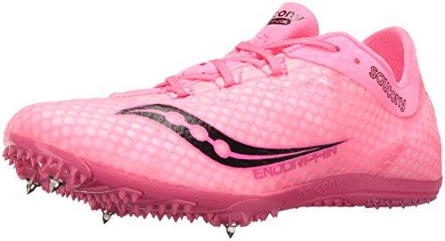 Saucony Women's Endorphin Track Shoe, Pink/Black, 10 M US