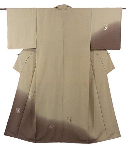 省アンテナ乱用リサイクル 着物 訪問着  破れ色紙に松竹梅や飛鶴の意匠 刺繍 正絹 袷 裄65.5cm 身丈155cm