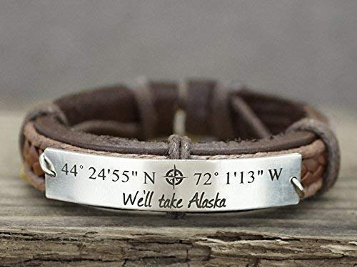 - Personalized Mens Leather Bracelet, Custom GPS Coordinates, Memorial Location Quote Engraved, Stainless Steel Plate