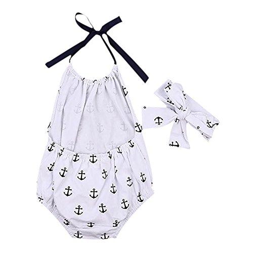 Weixinbuy Baby Girl Halter Backless Romper & Headband Bodysuit Beachwear Outfits