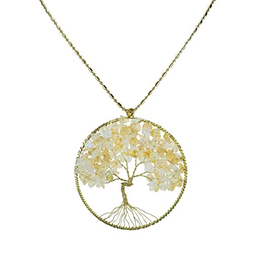 [DEW Drops Simulated Yellow Citrine Pendant Tree of Life Brass Necklace Gemstone Jewelry for women,Gifts For Mom] (Polynesian Girl Costume)