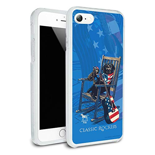 Classic Rockers Dogs Rocking Chair USA Flag Protective Slim Fit Hybrid Rubber Bumper Case Fits Apple iPhone 8