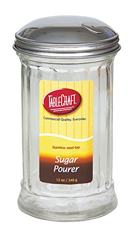 Tablecraft H57S-1 Fluted Sugar Pourer Side Flap Stainless Steel Top (12 Pack), 12 oz, -