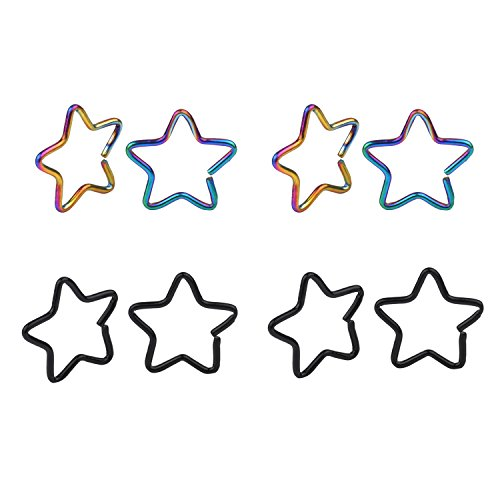 Great my shop 20G Star Clip on Closure Daith Ring Fake Nose Lip Tragus Cartilage Earring Piercing Jewelry 10mm Surgical Steel