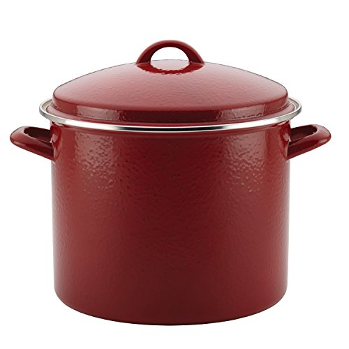 Paula Deen 46324 Enamel on Steel Stockpot, 12 quart, Red Speckle