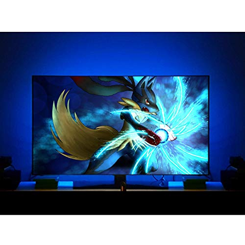 LED TV Backlight for 50 Inch TV Bias Lighting, USB TV Lights Behind 50 Inch TV Ambient Light, Cover 4/4 Sides of TV, No Dark Spot, RF Remote Controls Above 16 Colors