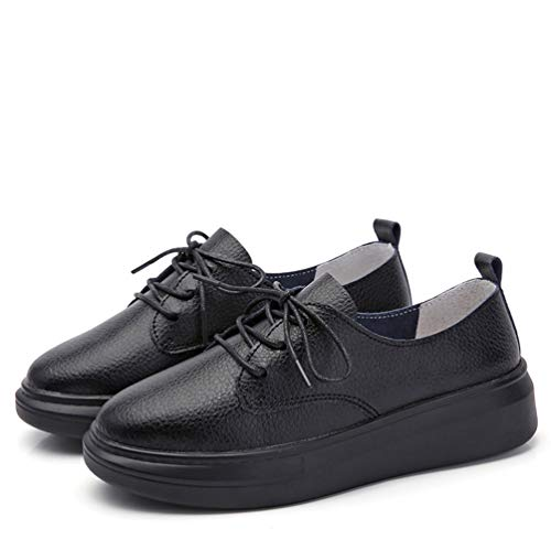 Lambskin Platforms Leather (JOYBI Women Platform Loafers Shoes Leather Slip On Lace Up Round Toe Comfort Casual Flat Walking Sneakers Black)