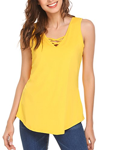 SoTeer Womens Summer Sleeveless Criss Cross Casual Tank Tops Basic Lace up Blouse S-XXL