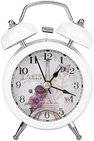 Garosa Ultra-Quiet Mini Metal Table Alarm Clock, Classic Retro Style Quartz Clock for Desk Cupboard Bedside Travel White