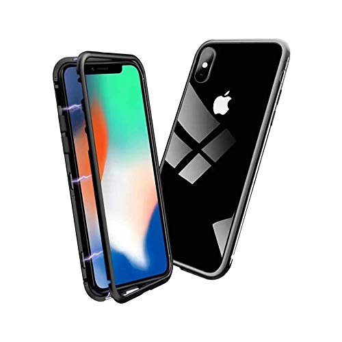 (Clear iPhone 7 Plus Case, iPhone 8 Plus Case,RedLin Magnetic Adsorption Case, Ultra Slim Bumper Metal Frame Tempered Glass Back Cover Comptablie with iPhone 7 Plus/8 Plus(Clear Black))
