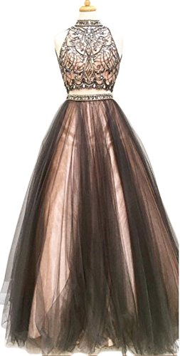 Dressylady Beaded High Neck 2 Piece Open Back Tulle Prom Dress Evening Party Gowns(6)