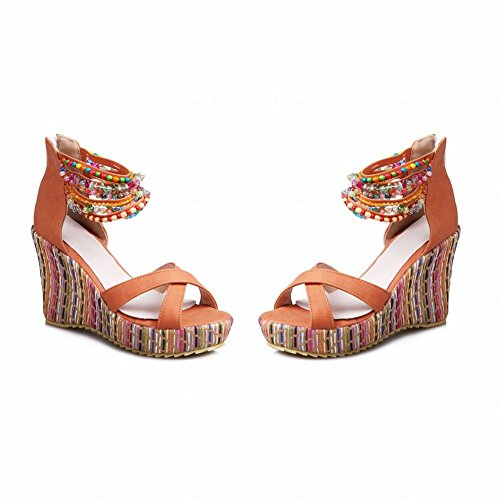 Bohemia Orange Womens Platform Wedge Style Foot Zipper Charm Beaded Sandals zO4q5Ew