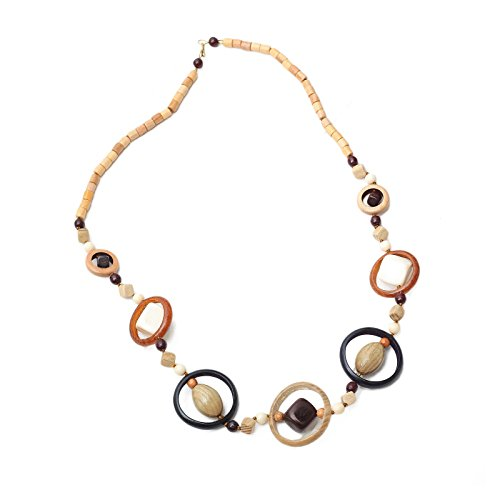 - Wooden Beaded Necklace Multicolor Hoops Cube Round Bead Charms 24