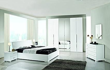 Camera Da Letto Bianco Lucido : Le chic camera da letto moderna bianco lucido amazon casa e