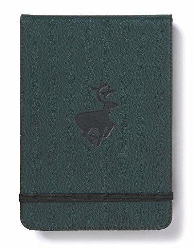 Dingbats Wildlife Pocket A6+ (6.1 x 4.1) Reporters Notebook - PU Leather, Micro-Perforated 100gsm Cream Pages, Inner Pocket, Elastic Closure (Grid, Green Deer)