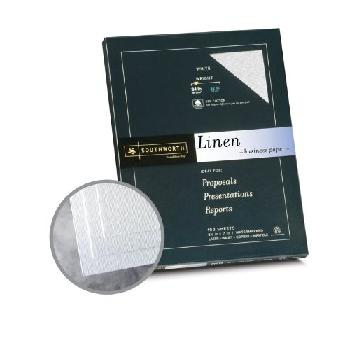 Southworth Recycled Paper (Southworth Business Linen 25% Cotton White Paper - 8 1/2 x 11 in 24 lb Bond Linen 30% Recycled 25% Cotton Watermarked 100 per Package)