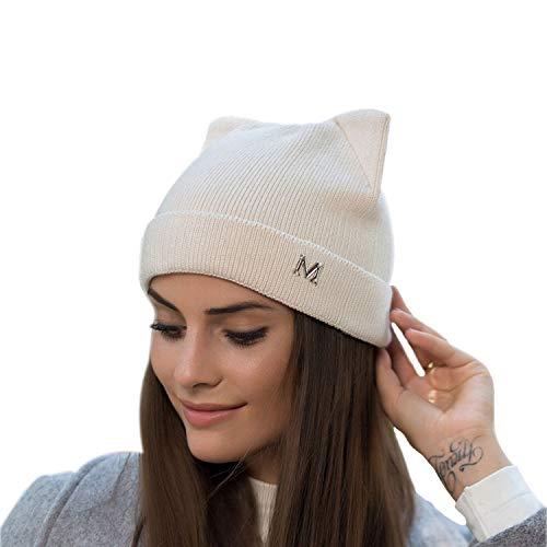 Women's Knit Hat Cute Cat Ear Crochet Braided Caps Cable Rib Beanie (Beige) (Beanie Rib Cable)