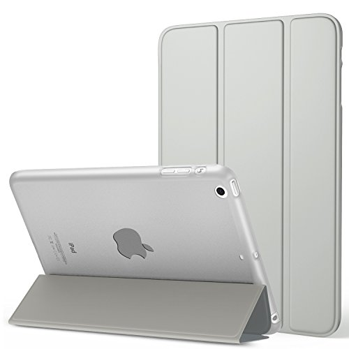 MoKo Case Fit iPad Mini 3/2 / 1, Slim Lightweight Smart Shell Stand Cover with Translucent Frosted Back Protector Fit Apple iPad Mini 1 / Mini 2 / Mini 3, Silver (with Auto Wake/Sleep)