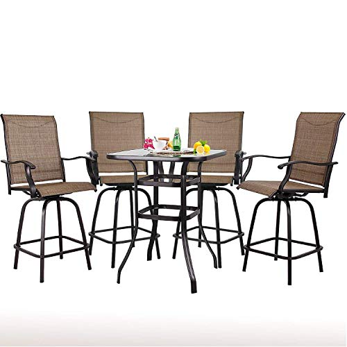 Homestock 5 pcs Patio Swivel Bar Set Textilene Height Bistro Sets 1 Table and 4 Swivel Bar Stools Garden Pool Home Kitchen Indoor Outdoor Furniture Set