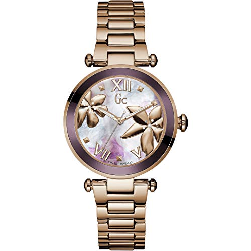 Guess Collection Ladies Swiss Quartz Watch with IP Rose Gold Bracelet Gc LadyChic Flowers Sport Chic Collection Y21002L3