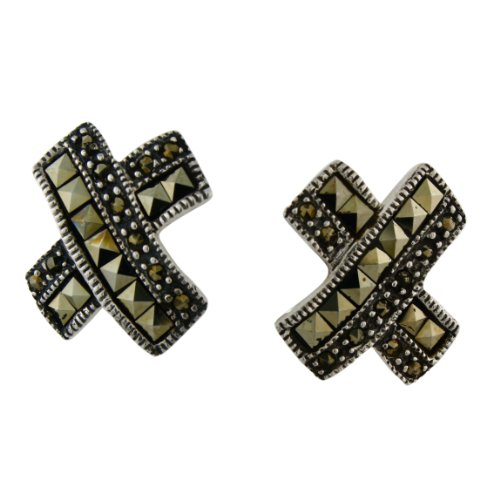 - Sterling Silver Swiss Square Pyramid-cut and Round Marcasite Cross Post Earrings