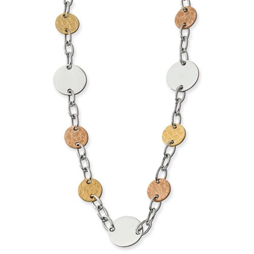 Stainless Steel Rose Ip & Gold Ipg-Plated Circle Necklace