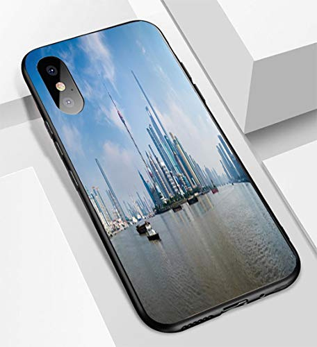 (iPhone X/XS Ultra-Thin Glass Back Phone case,Panorama of Pudong District Shanghai China Soft and Easy to Protect The Protective case)