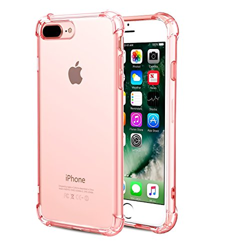 CaseHQ iPhone 7 Plus Case, iPhone 8 Plus Case,Crystal Clear Shock Absorption Bumper Slim Fit,Heavy Duty Protection TPU Cover Case for Apple iPhone 7 Plus (2016)/iPhone 8 Plus (2017) -Rosegold -