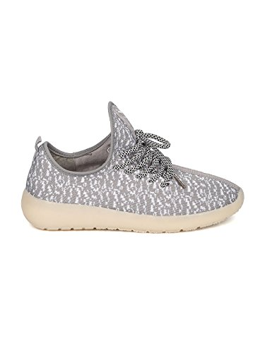 Kids Fabric Two Tone Lace Up Light Up Chargeable Jogger Sneaker GF45 - Grey (Size: Big Kid 4) by Link (Image #1)
