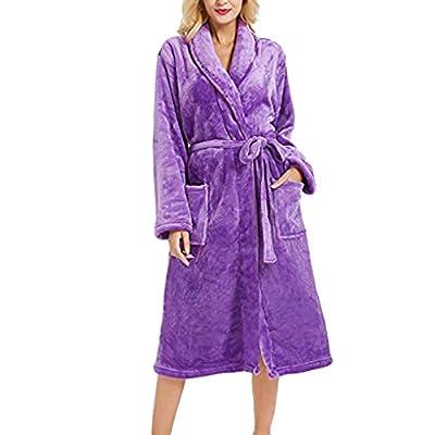 iLOOSKR Winter Ladies Bathrobe Long Plush Shawl Long-Sleeved Bathrobe Pajamas