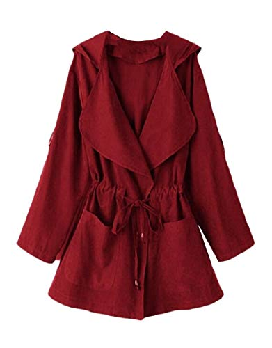 Mogogo Women's Turn-Down Collar Hood Solid Strappy Pocket Trim Dust Coat Wine Red