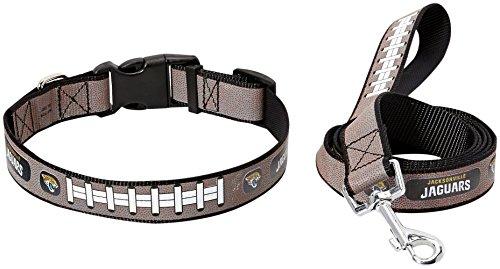 Jacksonville Jaguars Leash - NFL Jacksonville Jaguars Reflective Football Collar & Large Leash Gift Pack, Medium, Brown