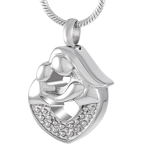 Mother Child Heart Necklace - CJJ8659 Mother Hug Children&Heart Stainless Steel Cremation Jewelry Mini Keepskae Memorial Urn Pendant