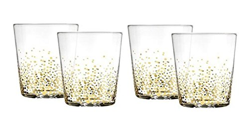 Fitz And Floyd Gold Luster Double Old Fashioned Whiskey Glasses, Set of 4