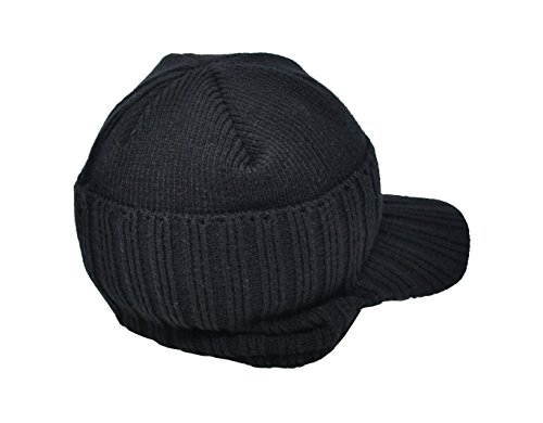 Warm Winter Hat, Beanie Style with Peak. Unisex for Men or Women Heat Max 3.5 TOG Thermal Insulated Hat (Black) - by (Acrylic Peak Beanie)