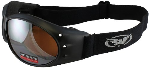Lens Black Motorcycle - Global Vision Eliminator Motorcycle Goggles (Black Frame/Driving Mirror Lens)