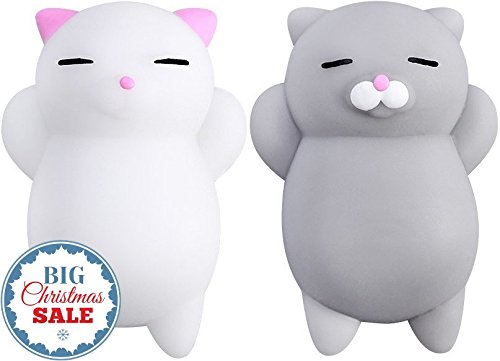 Sun Nomad Squishy Cat Pack - 2 Soft Silicone Kawaii Kitty Squishies - Top Stress Relief & Fidget Toy for Kids & Adults - Unique & Funny Present Idea - Best Gifts for Boys & Girls (Girls Gift Christmas Ideas)